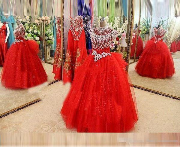 2019 globo dorado Vestidos para chicas Vestidos con forma de gorra Manga de perlas Cristales Vestidos para las noches Vestidos de noche para niñas en tul Niñas rojas Vestido de niña de flores