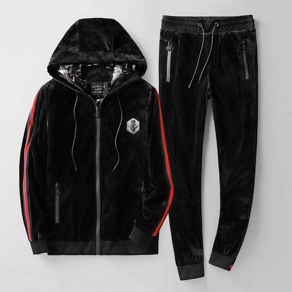 19SS hommes Survêtement qualité parfaite et conception originale en deux parties de Cardigan Costume et Pantalon élégant chaud et confortable hfgh