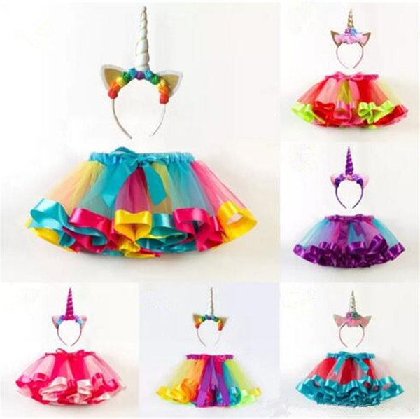Girls INS Unicorn TUTU skirt +hair accessory sets 2018 New Cosplay unicorn short skirt kids dress 2~11years 6 Color B11