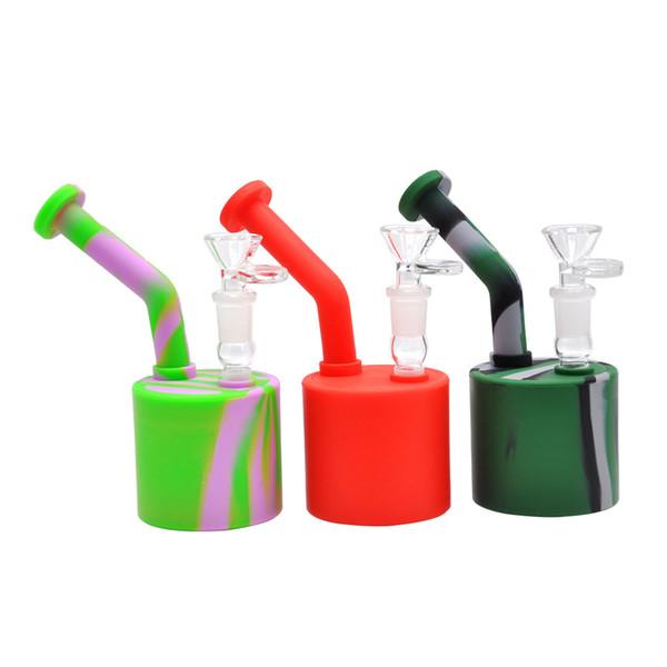 Round Portable Silicone Bongs Smoking Water Pipe Glass Bongs Filter Tips Silicone Smoking Bong Tobacco Water Pipe Dry Herb