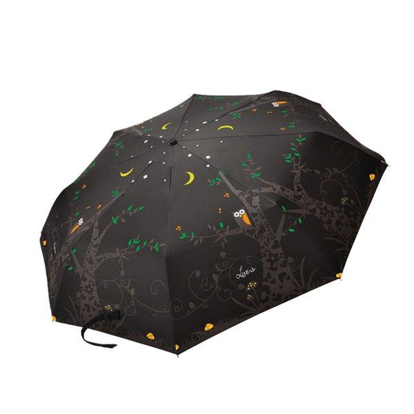 Kawaii Umbrella Black Animal Outdoor Bird Owl Umbrella Carbon Sunscreen Korea Upbrella Chuva De Amor Parasol UV Protection 5Y132