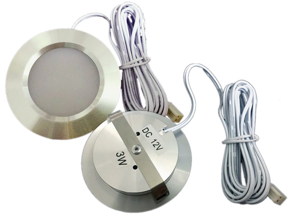 Утопленная установка постоянного тока 12В 2шт/много 3W светодиодные шайба/кабинет свет,светодиодный прожектор 2835 светодиодов,серебристый или белый корпус.