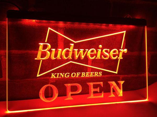 LE113-OPEN Budweiser Cerveja NR Pub Bar LEVOU Luz Neon Sign home decor artesanato
