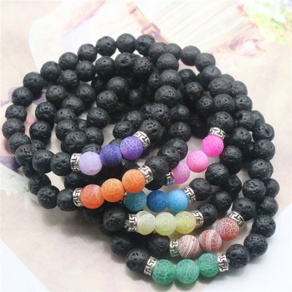 2018 Hot 8mm Lava Rock Weathering Agate Bracelets Natural Stone Yoga Bracelets Silver Gold Bangles For Men & Women Gift K6052