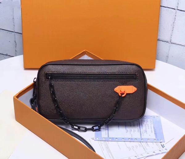 Классический кожаный личи с тиснением толстой цепью клатч мужчины и женщины со старой цветочной сумкой камеры темно-коричневые повседневные карманы
