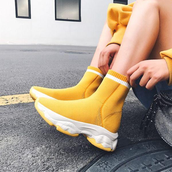 MLJUESE 2020 femmes bottines à tricoter à bout carré slip de couleur jaune hiver courtes femmes en peluche bottes robe de soirée