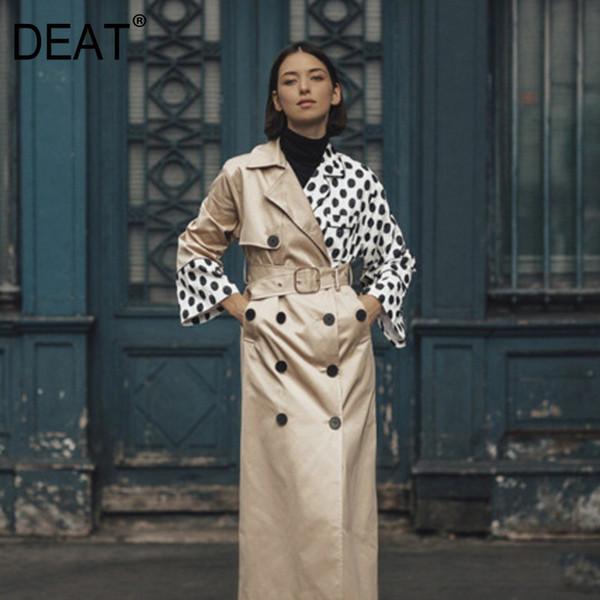 [DEAT] 2019 Осень новинка женская одежда высокого качества одежда шить Dot женская длинное пальто ветровка
