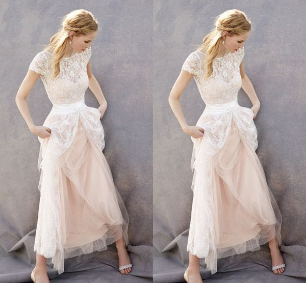 Light Champagne Bohemian Wedding Dresses Bridal Gowns Cap Lace Short Sleeves Tulle Long Cheap Wedding Bridal Gowns Cheap Vestidos De Wedding Dress