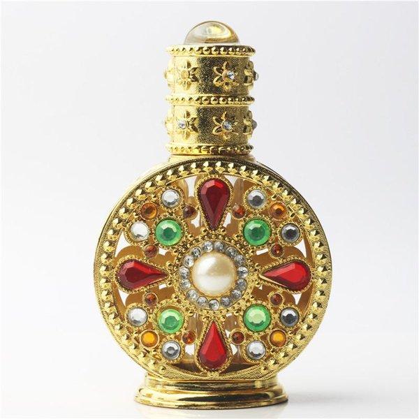 Edición limitada 12 ml Oro Diamante Retro Antiguo Ahuecar Hacia Fuera Botella de Perfume de Cristal Vacía Contenedor Cosmético Botella de Perfume