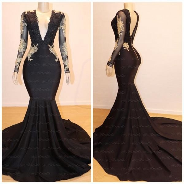 2019 Plus Size V Neck Black Prom Dresses Wth Gold Lace Appliques Mermaid  Long Sleeves Evening Gowns With Sweep Train Prom Dress Stores In Michigan  ...