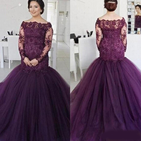 Alluring Purple Prom Evening Dress For Plus size Women Girls 2019 Off shoulder Illusion Long Sleeves Lace Applique Mermaid Ruched Cheap