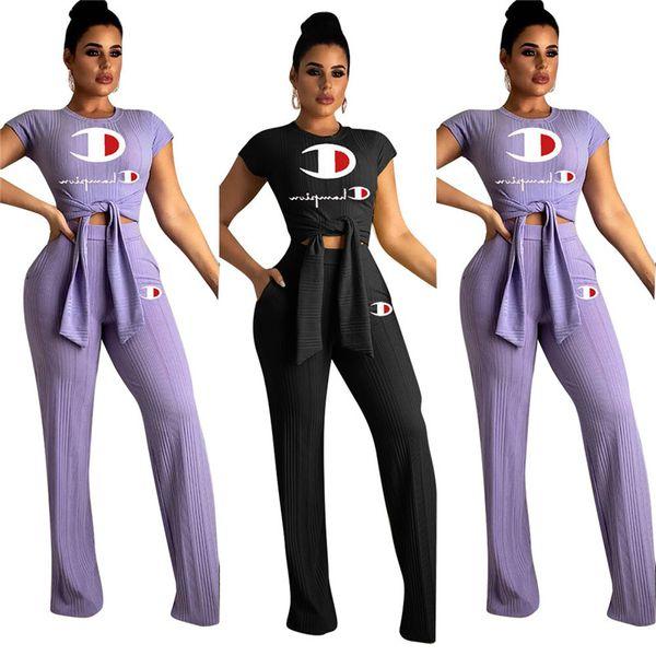 2019 Campeones de moda Chándal Mujer Pajarita Camisetas Pantalones sueltos de pierna ancha 2 piezas Traje de verano Joggers deportivos conjunto de ropa A3137