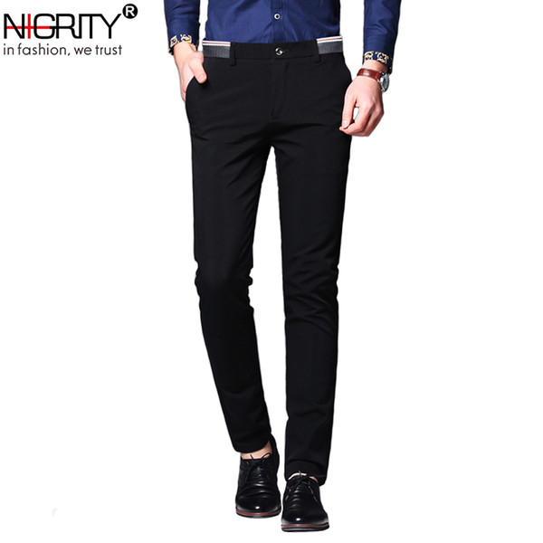 Nigrity Mens Casual Pant Male Business Trousers Classic Dress Pant Straight Full Length Fashion Pant Blue And Black Size 28-38 MX190717