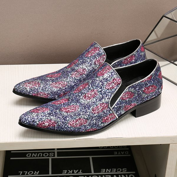 Spring Autumn New Men's Purple Sequins Shoes Business Casual Loafers Men's Foot Shoes