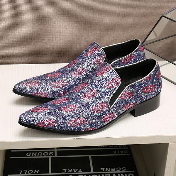 İlkbahar Sonbahar Yeni erkek Mor Sequins Ayakkabı Iş Rahat Loafer'lar erkek Ayak Ayakkabı