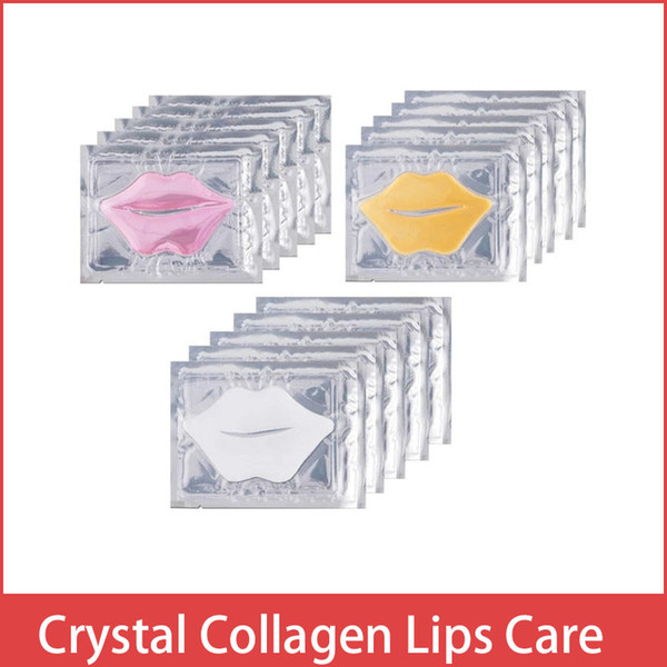 top popular Pink White Gold Lip Mask Pads Moisture Essence Crystal Collagen Lips Care Patch Pad Lip Face Care Beauty Cosmetic 2021