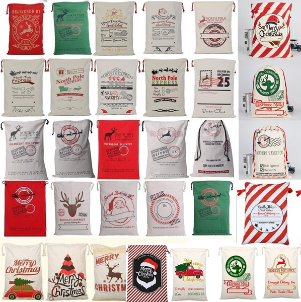 top popular 36 colors Christmas Gift Bags Large Organic Heavy Canvas Bag Santa Sack Drawstring Bag With Reindeers Santa Claus Sack Bags for kid 4549 2019