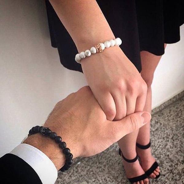 Mcllroy Couronne Couple Bracelets Bangles Hommes Femmes 8 mm perles naturelles Stone Love Bracelet Couple Bijoux pulseira dropshipping