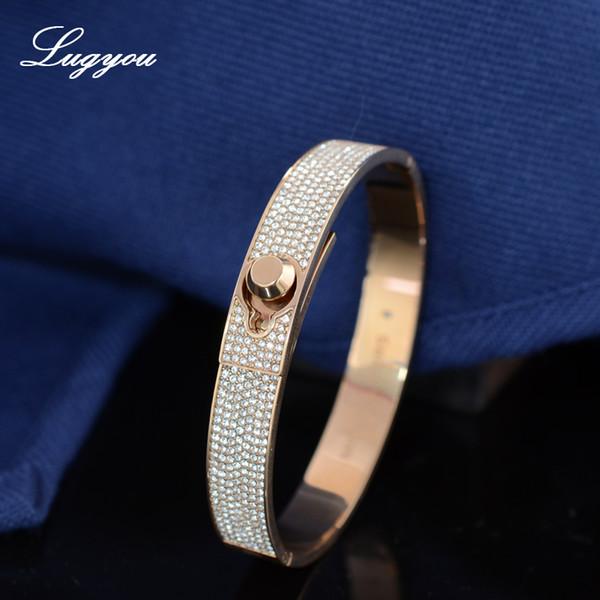 Lugyou Lady Jewel Браслет-браслет для женщин с цирконами из розового золота