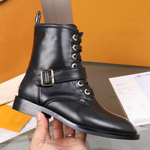 De alta calidad de las mujeres de lujo de la Batalla botas de cuero botas del tobillo de los zapatos de tacón Martin Zapatos Cuero impreso Plataforma