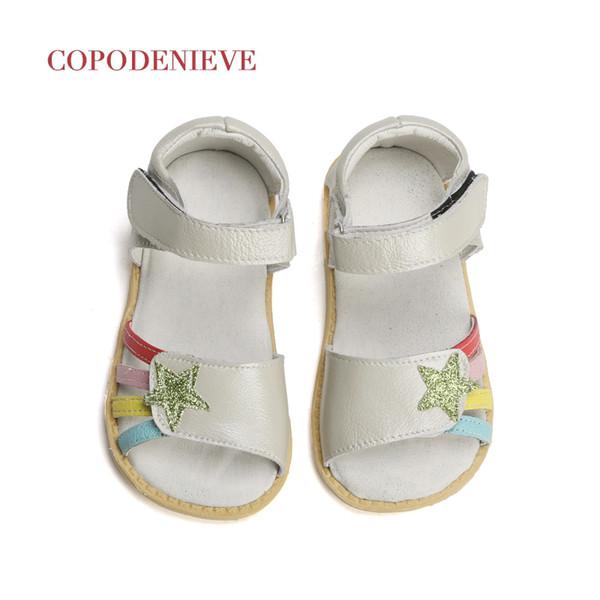 Copodenieve Summer Style Children Sandals Girls Princess Beautiful Flower Shoes Kids Flat Sandals Baby Girls Roman Shoes Y19051303