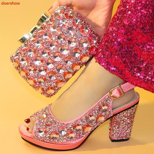 doershow Chaussures et sac Set sac à chaussures de couleur rose italienne africaine Sets 2019 Set décoré avec strass de haute qualité! HXX1-29MX190917