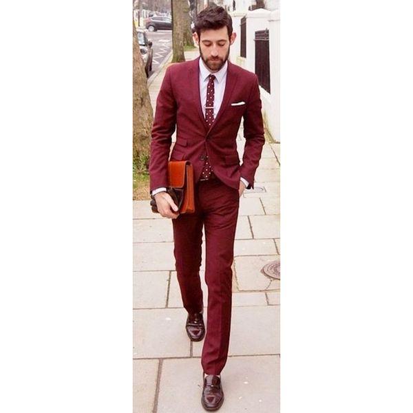 Burgundy Men Suit Slim Fit Wine Red Suits Jacket Pants 2 Piece Groom Wedding Suit for Men Tuxedos Blazers (jacket+pants)