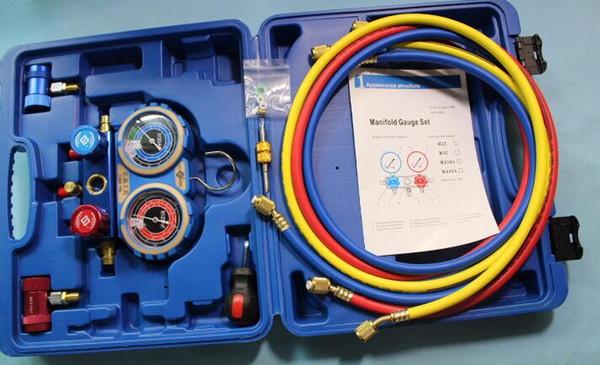 todo libre Manómetro múltiple Presión de trabajo / brust MST-R1234YF Manómetro múltiple Conjunto de protección ambiental Cuerpo de válvula de aluminio