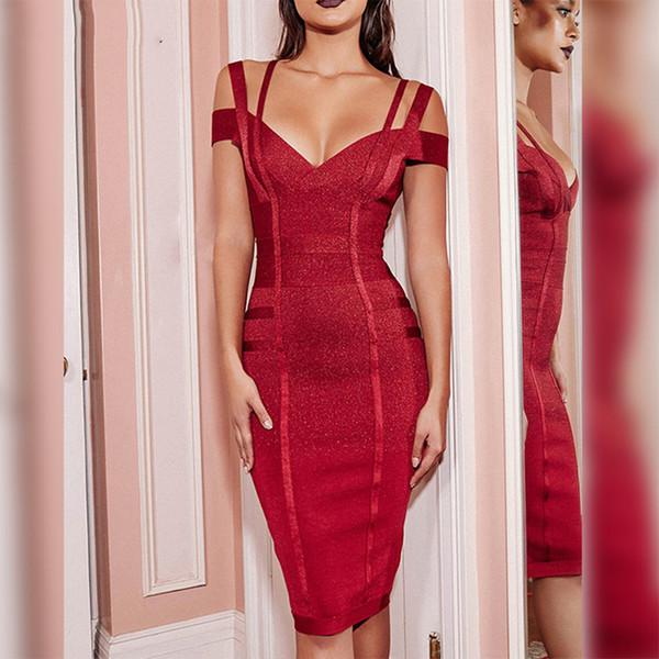 Mais novo Bodycon Bandage Vestido Das Mulheres Partido Celebridade Spaghetti Strap Off Ombro Com Decote Em V Sexy Noite Out Vestido Mulheres Vestidos J190621