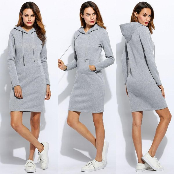 Women Fleeces Fashion Hooded Full Drawstring Dress Casual Sweatshirt Big Size Dress Hoodies Long Sleeves Winter Lady Party Clothing Vestidos