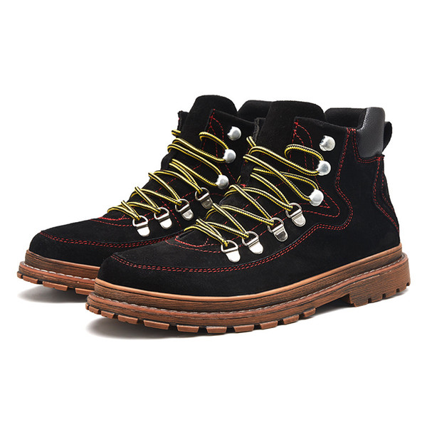 European Station High-end Leisure Leather Shoes Men's New Winter Thick Bottom Increased Young Chaozhou Martin Shoes