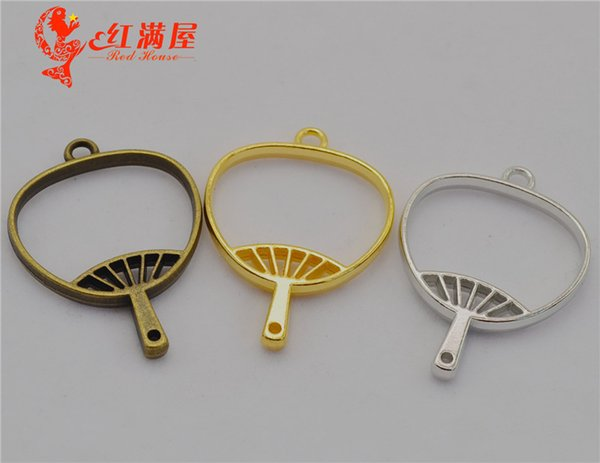 30pcs 42*30MM DIY jewelry materials and accessories gold hollowed out hand fan charms metal blank frame Japan popular hollow rim pendants