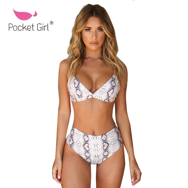 Pocket Girl 2019 Leopardo Bikinis de cintura alta Mujeres Sexy traje de baño femenino Push up traje de baño Imprimir Bikini brasileño Set traje de baño