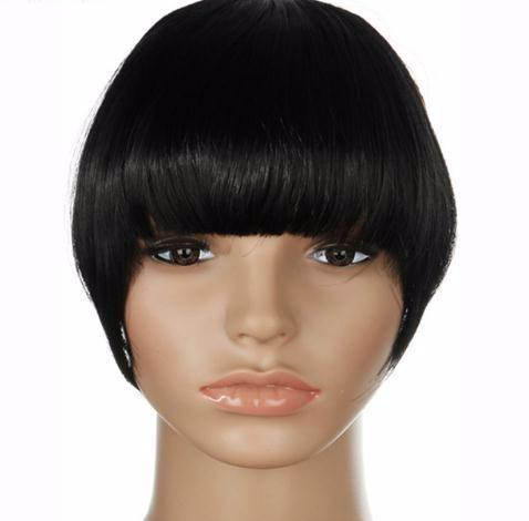 2019 Us Stock Clip In False Bangs Fringe Hair Extensions One Piece Staight Synthetic Black Brown Blonde Red