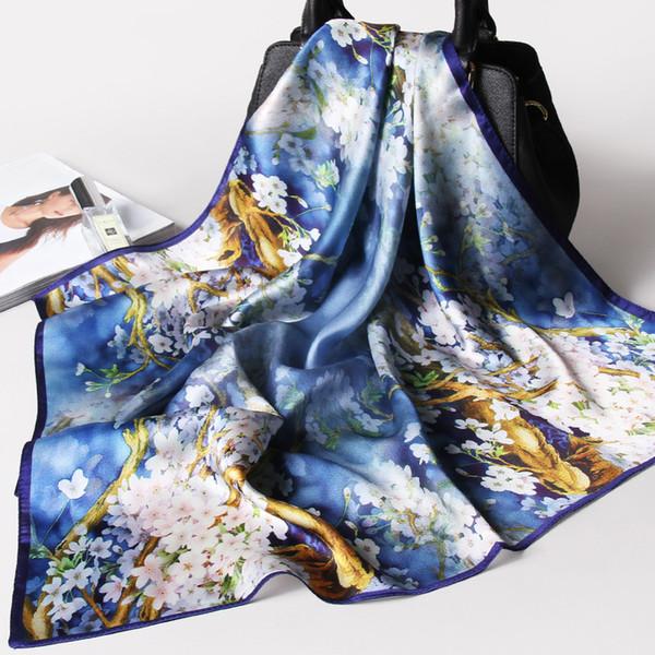 100% Pure Silk Place Fleur Femmes Foulard Imprimer Petit réel Foulard en soie Bandana Mesdames naturel Foulard Mouchoir