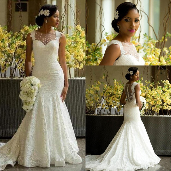 Elegant 2018 African Lace Mermaid Wedding Dresses Sheer Neckline Fit and Flare Court Train Covered Buttons Sheer Back Country Bridal Gowns