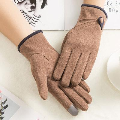 n917 korean women's autumn and winter outdoor sports riding thickening non-fleece touch screen warm windproof gloves wholesale