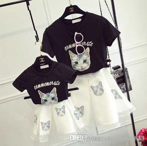 2017 new super beautiful dresses Korean Monogram embroidery cat Eugen yarn skirt suit mother dress With children