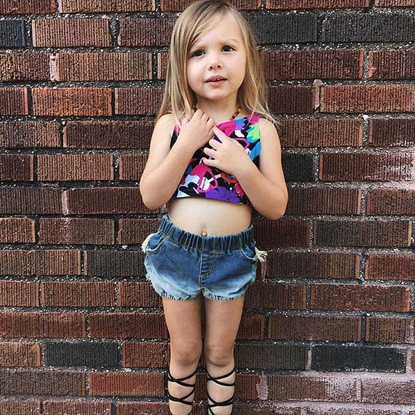 Baby Girls Tassel Jeans 2019 Summer New Ripped Denim Kids Panties Children Hot Sale Boy Girl Clothes Toddler Ruffle Hole Jean