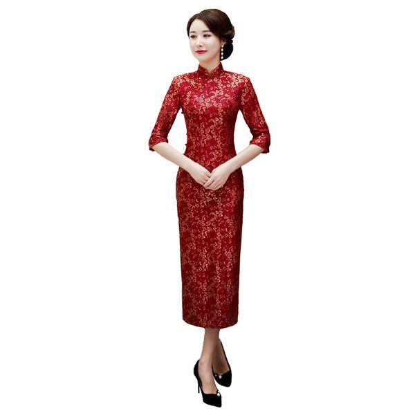 Elegante Senhoras Lace Meia Manga Chinês Tradicional Vestidos Handmade Botão Qipao Colarinho Mandarim Sexy Cheongsam Plus Size M-3XL