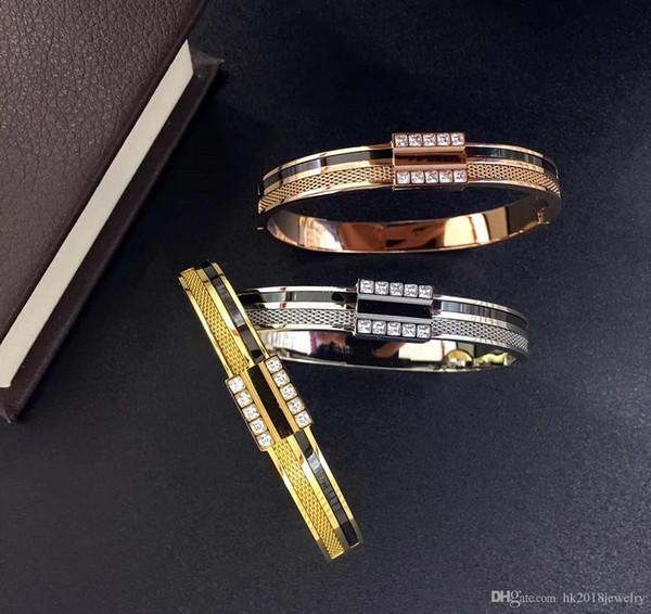 Nouveau Style Célèbre Marque En Gros En Acier Inoxydable 316L Couple Bracelet Bijoux Amour Bracelet avec CZ Pierre Bracelet