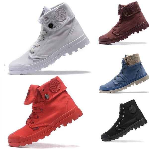 Homens Mulheres Moda Ao Ar Livre Sapatos de Alta-top Ankle Boots Militar Do Exército Paládio Anti-Slip Robusto Deserto Cinza Exército Verde Lona Sapatos Casuais