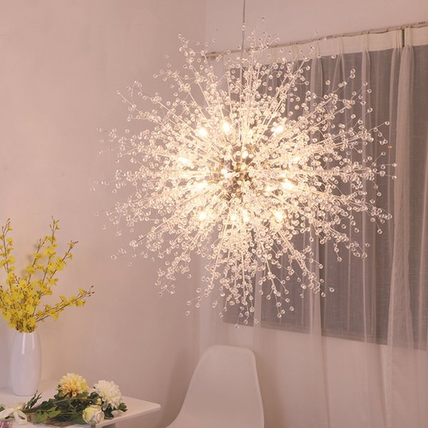 Lampadari moderni fuochi d'artificio a LED luce in acciaio inox illuminazione a sospensione in cristallo LED Globe soggiorno sala da pranzo cucina con lampadine G4