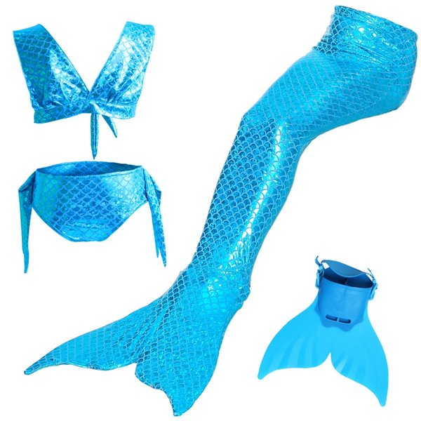2018 Kids Children Mermaid Tails for Swimming Costume Cosplay Girls Swimsuit with Bikini Mermaid tail with Easy to Add