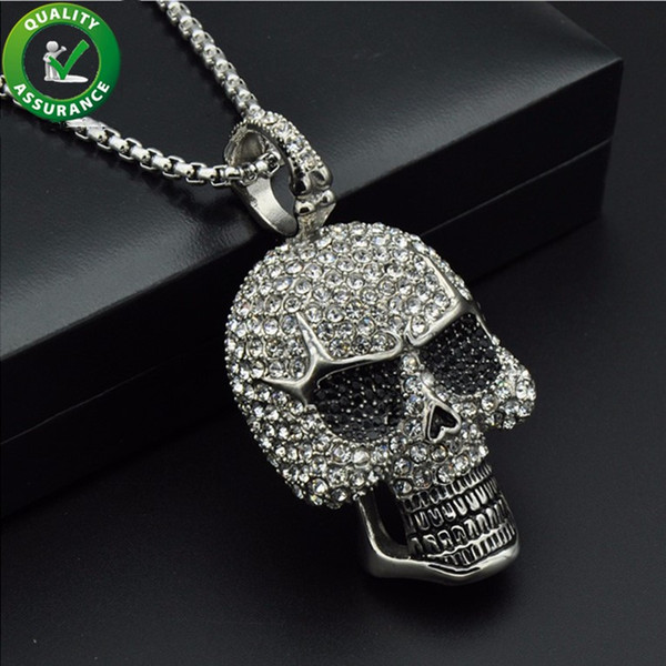 iced out chains pendant designer necklace hip hop jewelry mens diamond skeleton skull pendants titanium stainless steel bling punk rapper, Silver