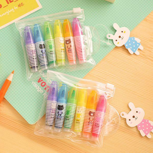 72 pcs / Lot Mini resaltadores Lindo rotulador fluorescente para leer el libro Kawaii Stationery Office School supplies