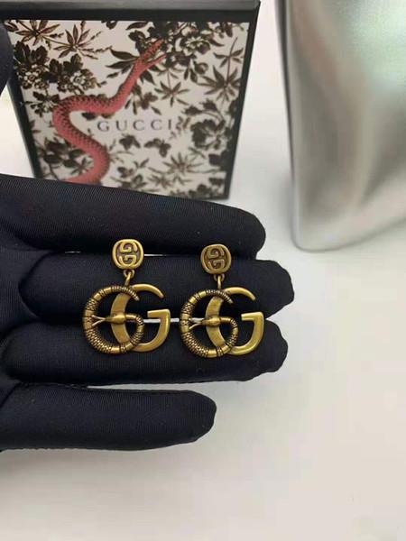 best selling New arrivals Vintage brass luxury designer jewelry women earrings GG letter earrings for women party jewelry gift free ship