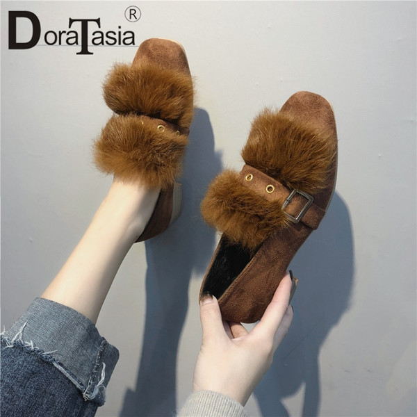 Shoes DORATASIA 2019 New Solid Belt Buckle Square Med Heels Square Toe Woman Casual women's Autumn Winter Pumps Big Size 35-40