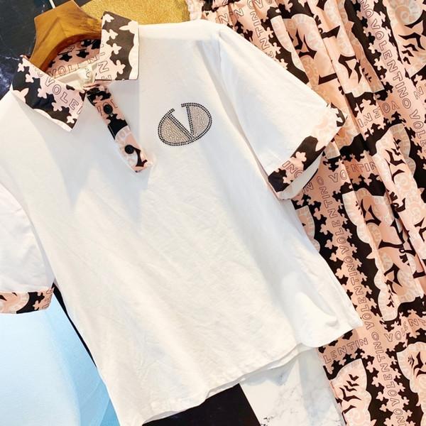 Women's Contrast Stitching Polo Shirt Chiffon Two-piece Casual Pants Set Loose X-Shirt Long Tops Wide Leg Pants Set Summer Set