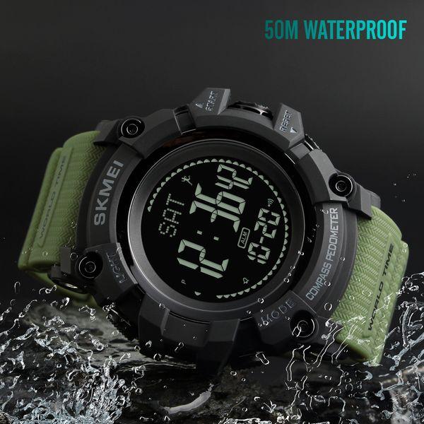 SKMEI S Sports Men Watches Compass Pedometer Calories Men Clock 50M Waterproof Digital Watches Wristwatch